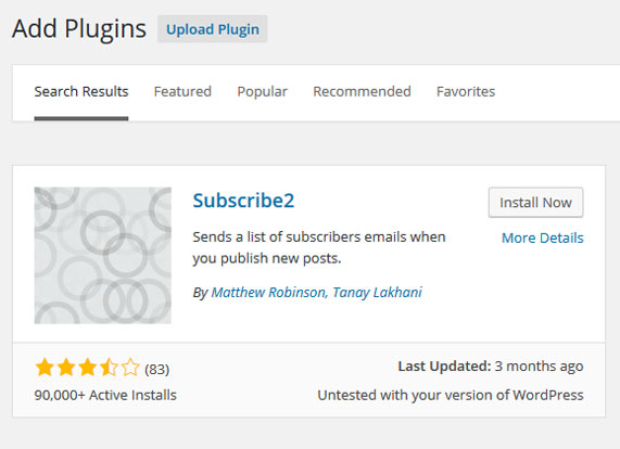 Install Subscribe2 plugin